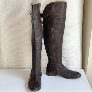 All Saints 9/10 Over the Knee Leather Boots Brown